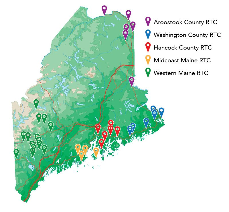a map displays the locations of RTC clusters, which can be seen in Aroostook, Washington, and Hancock counties, as well as Midcoast and Western Maine.