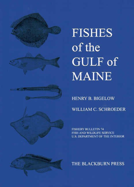 "the cover of the book ""fishes of the gulf of Maine"" featuring illustrations of 5 species"